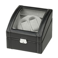 DUAL WATCH WINDER IN BLACK LEATHER.