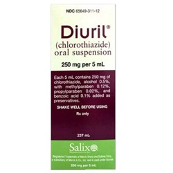 Diuril Oral Suspension 250mg/5mL, 8 oz. Bottle
