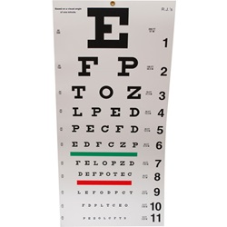 "Snellen Eye Chart - 20 Feet, 10.5"" x 20"""