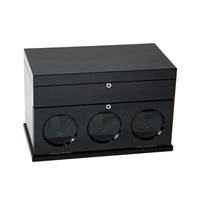 TRIPLE WATCH WINDER BLACK CARBON FIBER AND BLACK LEATHERETTE.