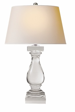 Table Lamp in Crystal with Natural Paper Shade