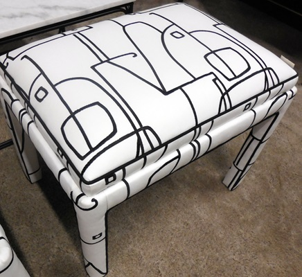 Black & White Patterned Ottoman