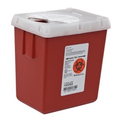 2.2 Quart Red Phlebotomy Container - Locking Vertical Lid