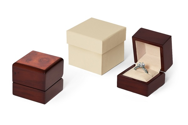 Mahogany Burlwood ring box lined with cream Italian suede