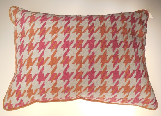 Pink and Orange Houndstooth Print Pillow 24x16