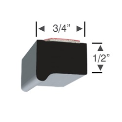 Peel-N-Stick Rectangular Lipped Edge 3/4 x 1/2 - 10 foot