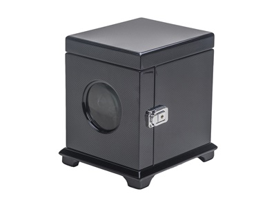 SINGLE WATCH WINDER BLACK CARBON FIBER FINISH AND BLACK LEATHERETTE.