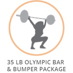RAGE 35 LB OLYMPIC BAR & BUMPER PACKAGE
