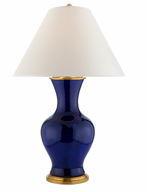 Ralph Lauren Lamp in Navy Porcelain with Hardback Percale Shade