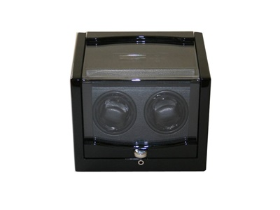 DUAL WATCH WINDER GLOSSY ROSEWOOD AND BLACK LEATHERETTE.