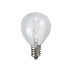 Clear General Electric light bulb with screw base