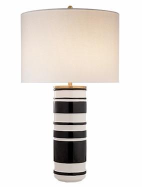 Kate Spade Sculpted Cylinder Table Lamp in White Leather Ceramic and Satin Black with Cream Linen Shade