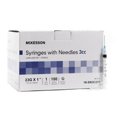 "23g, 1"" Needle - 3cc/3ml Syringe"