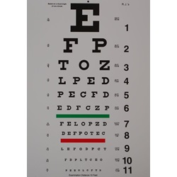 "Snellen Eye Chart - 10 Feet, 7.75"" x 11"""