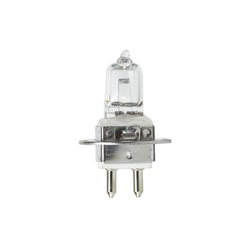 Clear, square light bulb that has a silver, 2-pin base.