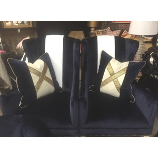 Navy Blue Velvet Chairs & Pillows