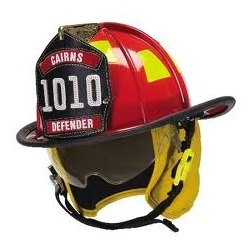 Cairns® 1010 Traditional Fire Helmet with Defender Visor in red