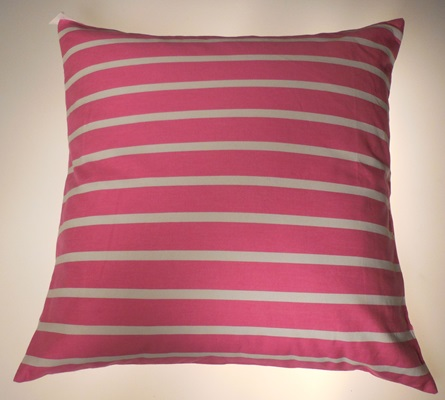 Pink and White Striped Pillow