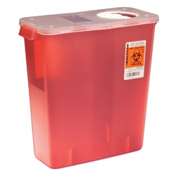 3 Gallon Translucent Red Container - Locking Hinged, Rotor Lid