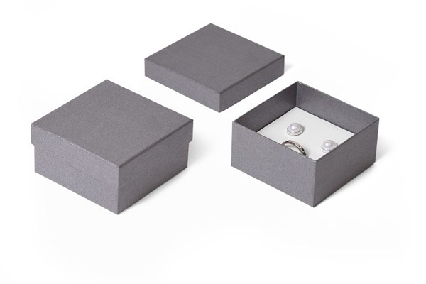 grey paper earring/pendant box with white leatherette interior.