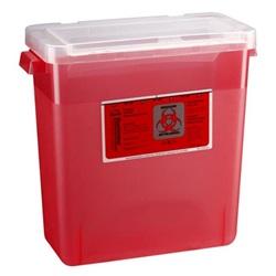 3 Gallon Translucent Red Phlebotomy Container - Locking Vertical Lid
