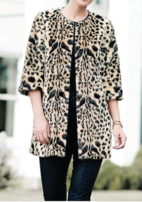 Leopard Faux Fur Coat - Medium
