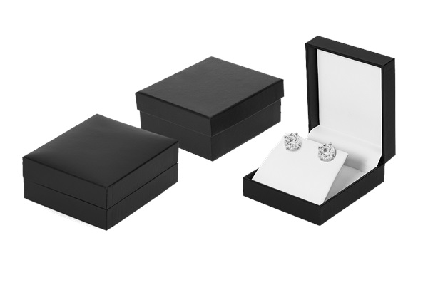A Series Pend/Ear Box, black leatherette with white interior