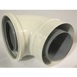 "4"", 100/150 White Concentric 90 Degree Elbow with Locking Band"