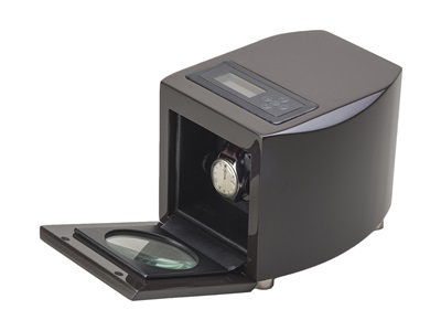 SINGLE WATCH WINDER DARK BROWN LACQUER FINISH AND BLACK LEATHERETTE