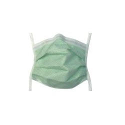 Fog Shield Mask - Pleated Green Diamond With Ties