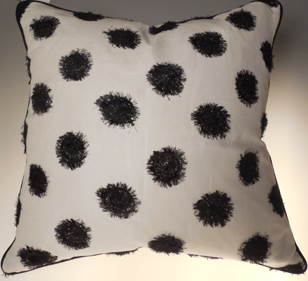 Black Shaggy Dot Pillow