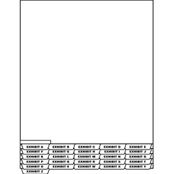 Legal Exhibit Alpha Index Divider Sheets - Bottom Tab