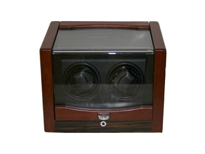 DUAL WATCH WINDER MATTE ROSEWOOD AND BLACK LEATHERETTE.