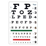 "Snellen Eye Chart - 20 Feet, 9"" x 14"""