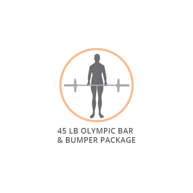 RAGE 45 LB OLYMPIC BAR & BUMPER PACKAGE