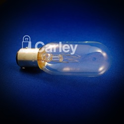 Oval shaped, clear CAX light bulb with gold base.