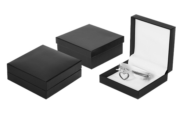 A Series Bangle Box, black leatherette with white interior