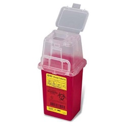 1.5 Quart Red Phlebotomy Container - Non-Locking Vertical Lid