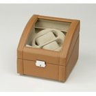 DUAL WATCH WINDER BROWN LEATHER.