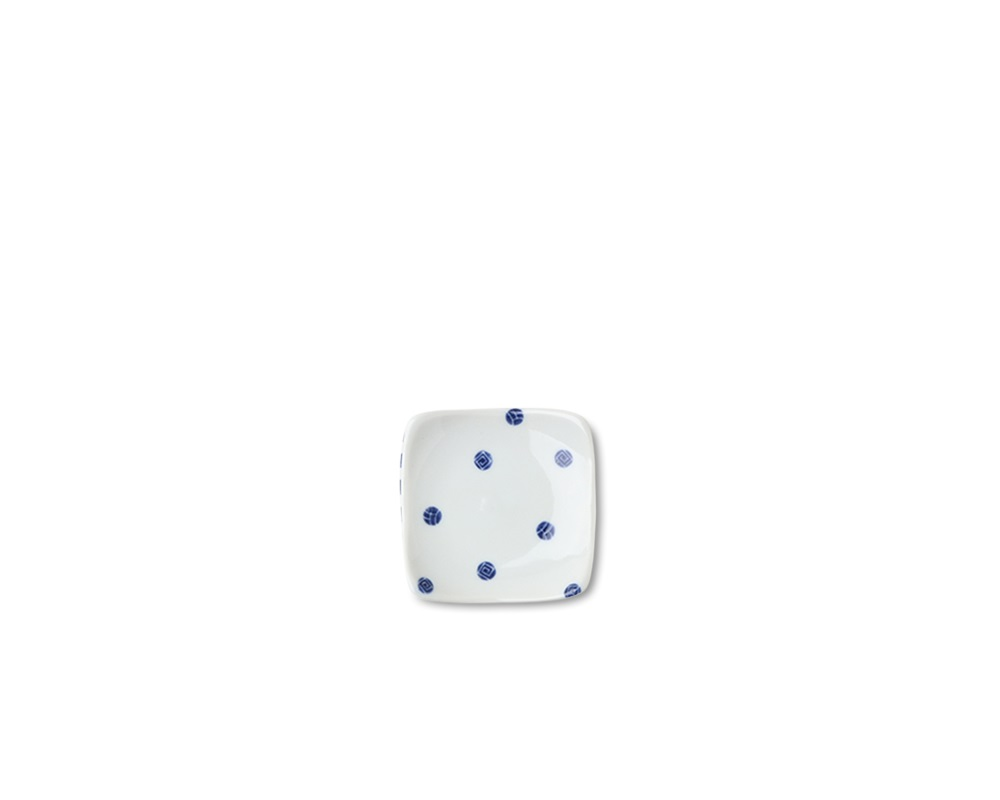 "Blue & White Dots 3.5"" Plate"