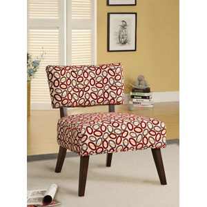 59074 ACCENT CHAIR BEIGE/RED OVAL F.