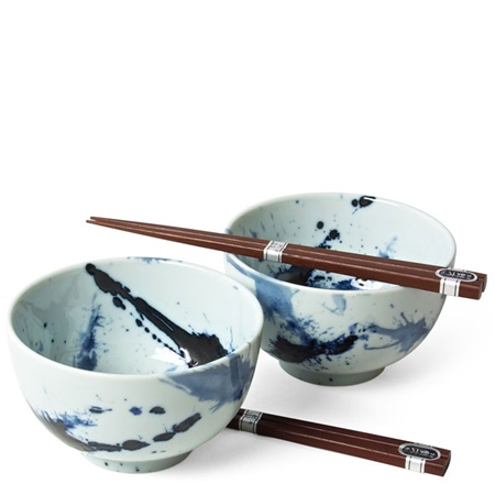 "Blue Sumi 5"" Bowl For Two Set"