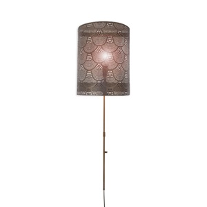 "37.5""H Scallop 1-Light Pierced Metal Plug-In Wall Sconce"