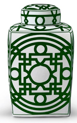 Green and White Porcelain Temple Jar