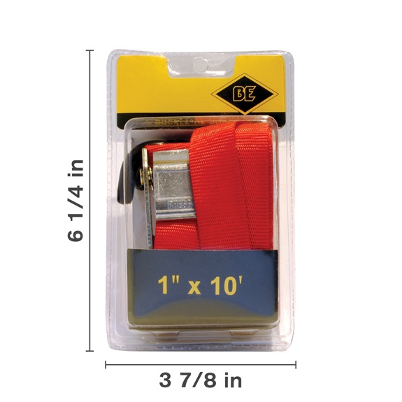 "1"" X 10' Ratchet Strap, Red-BOOK"