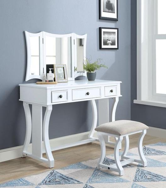 Acme Furniture - 90357 POPIDIA WHITE VANITY SET