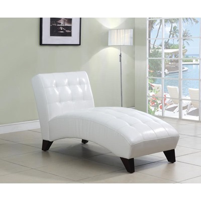 15037 WHITE PU LOUNGE CHAISE