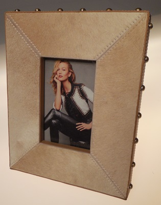Tan Hide Frame with Gold Embellishments