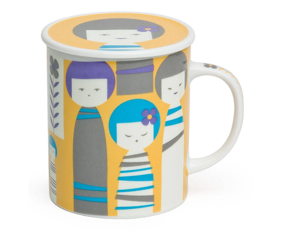 Kokeshi 8 Oz. Lidded Mug - Yellow