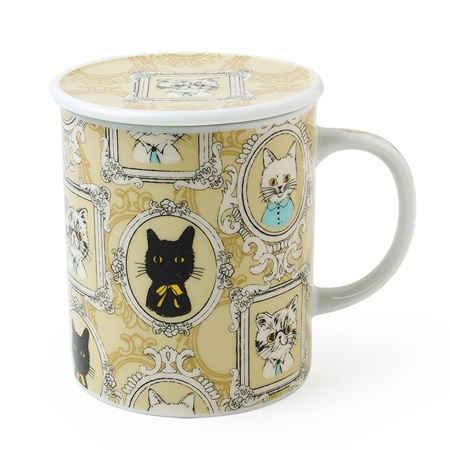 Portrait Cat Lidded Mug - Yellow
